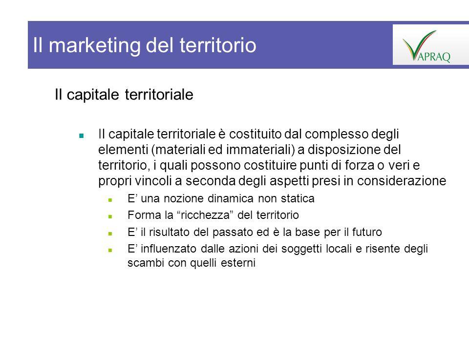 Il capitale territoriale Il capitale territoriale è costituito dal complesso degli elementi (materiali ed immateriali) a disposizione del territorio,