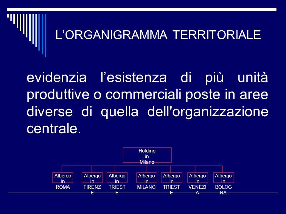 LORGANIGRAMMA TERRITORIALE evidenzia lesistenza di più unità produttive o commerciali poste in aree diverse di quella dell'organizzazione centrale. Ho