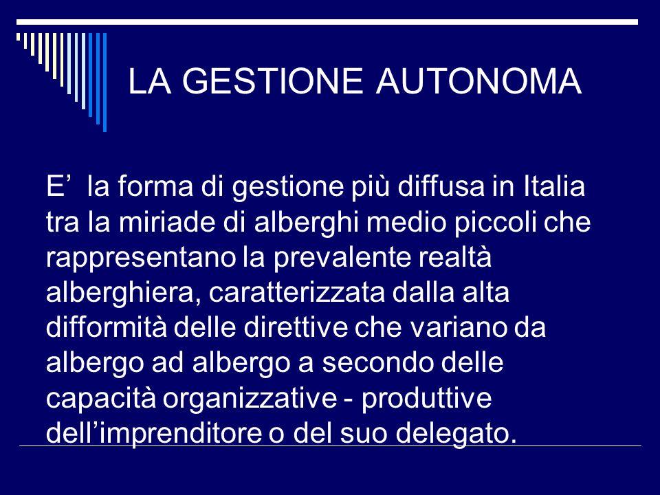 LA GESTIONE AUTONOMA E la forma di gestione più diffusa in Italia tra la miriade di alberghi medio piccoli che rappresentano la prevalente realtà albe
