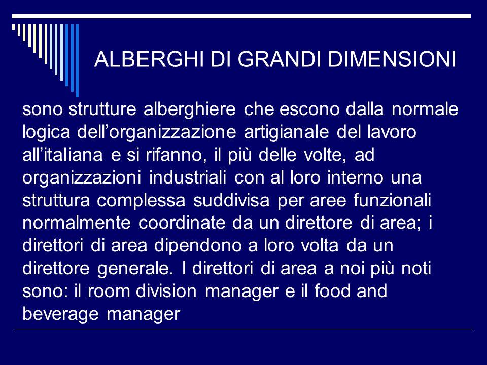 ALBERGHI DI GRANDI DIMENSIONI sono strutture alberghiere che escono dalla normale logica dellorganizzazione artigianale del lavoro allitaliana e si ri
