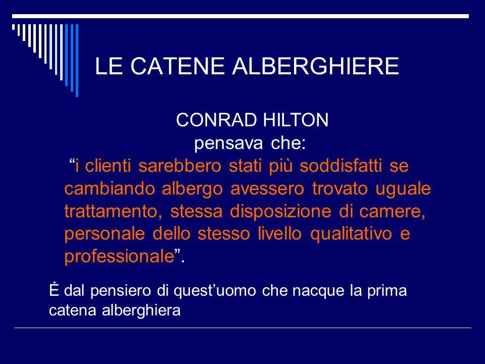 LE CATENE ALBERGHIERE CONRAD HILTON pensava che: i clienti sarebbero stati più soddisfatti se cambiando albergo avessero trovato uguale trattamento, s