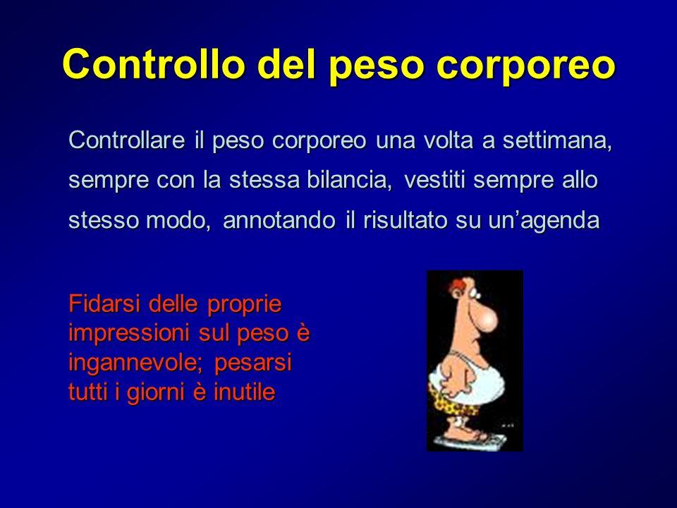 Controllo del peso corporeo Controllare il peso corporeo una volta a settimana, sempre con la stessa bilancia, vestiti sempre allo stesso modo, annota