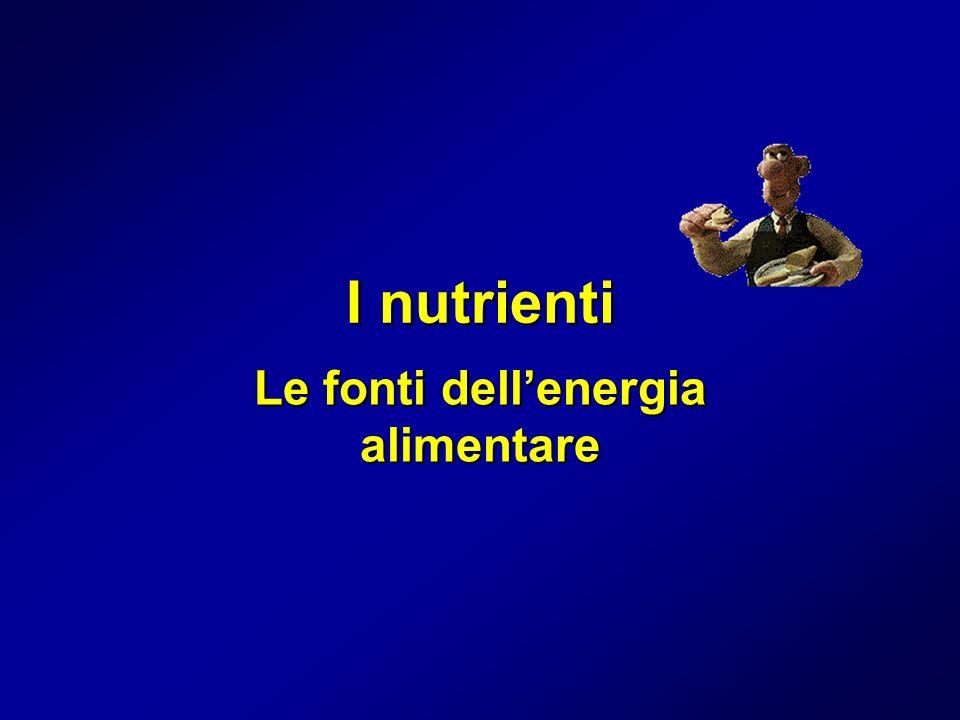 I nutrienti Le fonti dellenergia alimentare