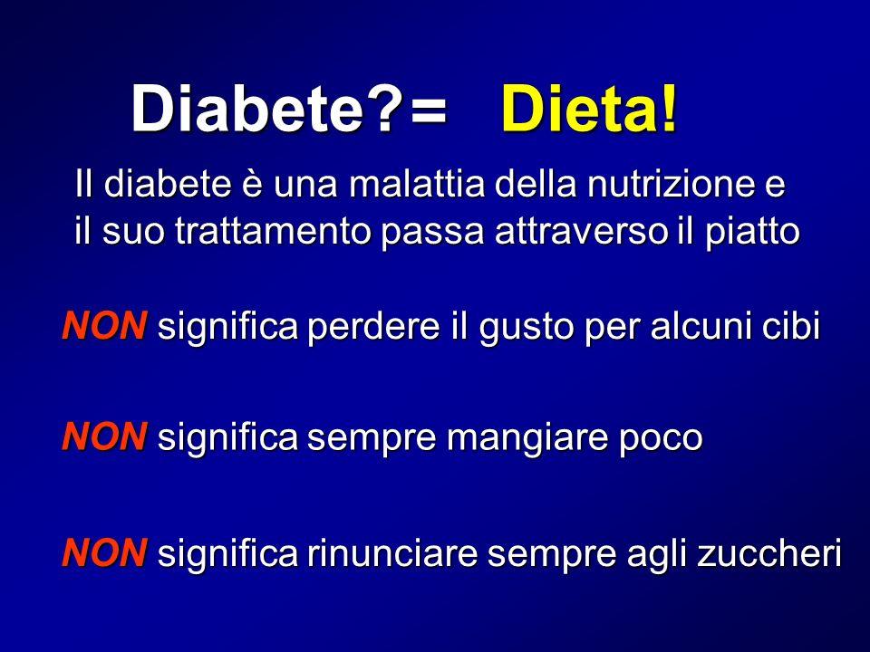 Diabete? Il diabete è una malattia della nutrizione e il suo trattamento passa attraverso il piatto Dieta! = NON significa perdere il gusto per alcuni