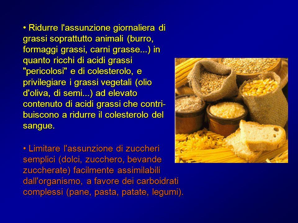 Ridurre l'assunzione giornaliera di grassi soprattutto animali (burro, formaggi grassi, carni grasse...) in quanto ricchi di acidi grassi