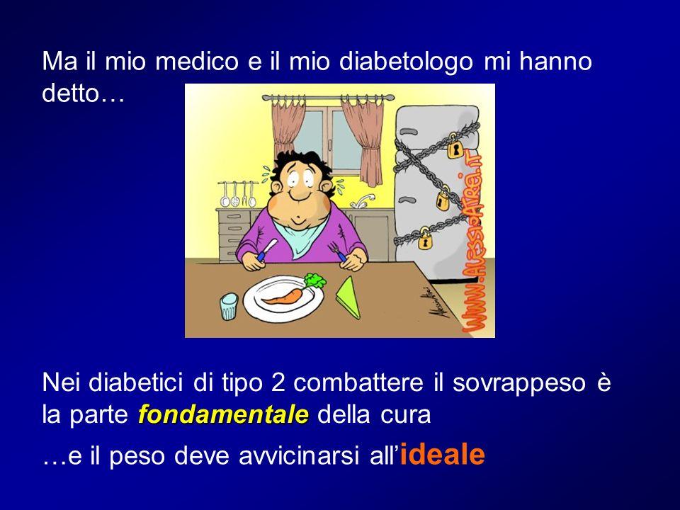 Ma il mio medico e il mio diabetologo mi hanno detto… fondamentale Nei diabetici di tipo 2 combattere il sovrappeso è la parte fondamentale della cura