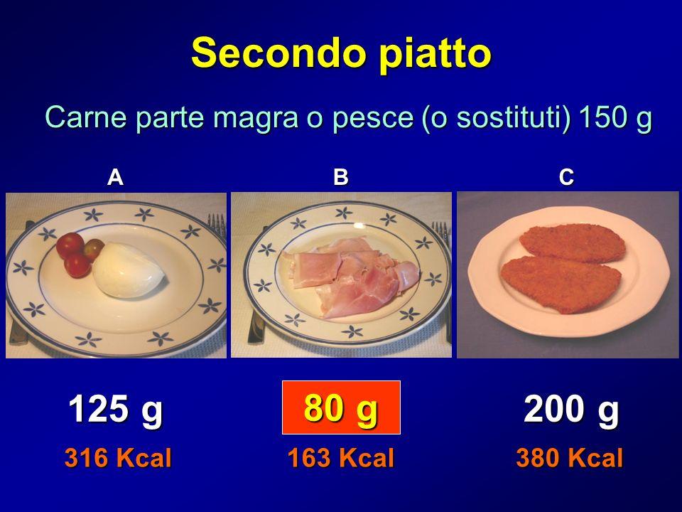 Secondo piatto Carne parte magra o pesce (o sostituti) 150 g ABC 80 g 125 g 200 g 316 Kcal 163 Kcal 380 Kcal