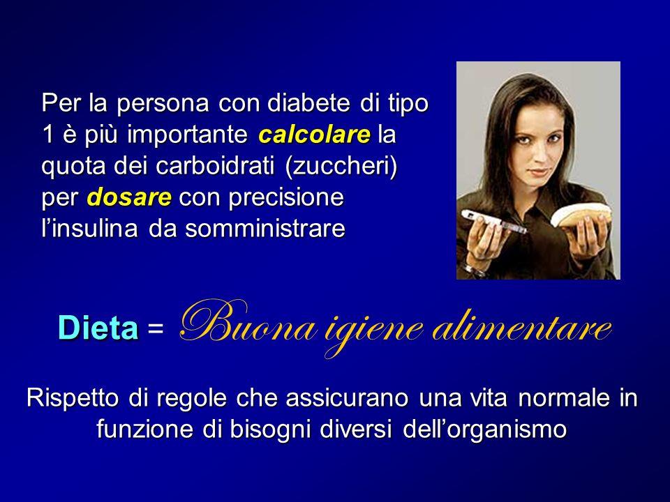 Per la persona con diabete di tipo 1 è più importante calcolare la quota dei carboidrati (zuccheri) per dosare con precisione linsulina da somministra