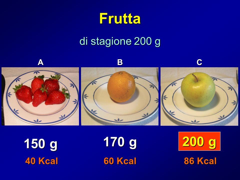 Frutta di stagione 200 g ABC 150 g 170 g 200 g 40 Kcal 60 Kcal 86 Kcal