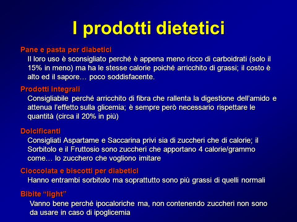 I prodotti dietetici Pane e pasta per diabetici Il loro uso è sconsigliato perché è appena meno ricco di carboidrati (solo il 15% in meno) ma ha le st