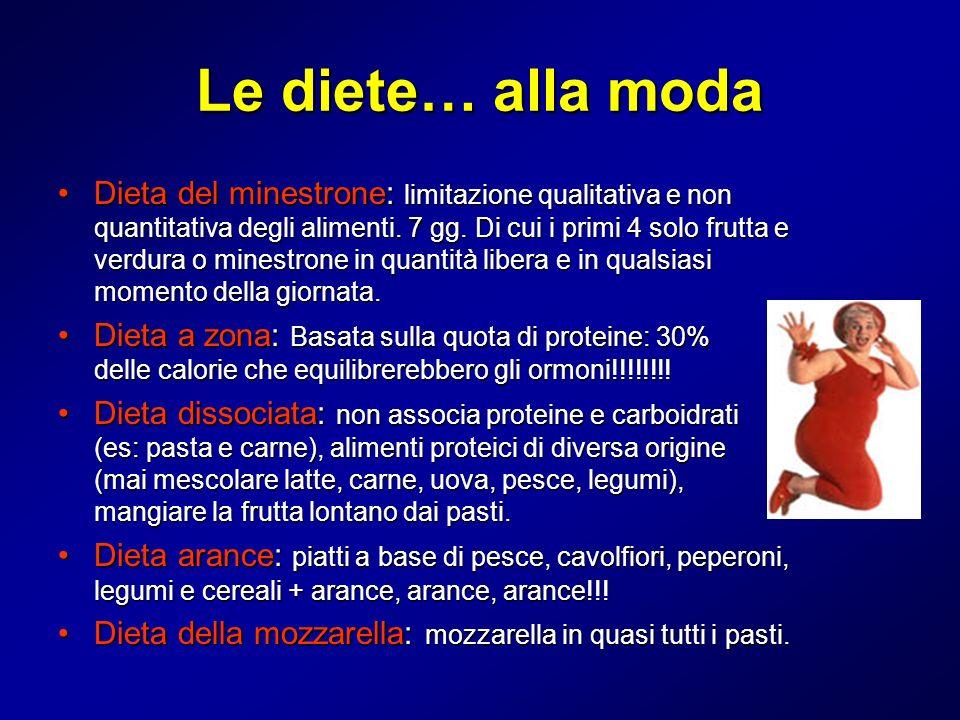 Le diete… alla moda Dieta del minestrone: limitazione qualitativa e non quantitativa degli alimenti. 7 gg. Di cui i primi 4 solo frutta e verdura o mi