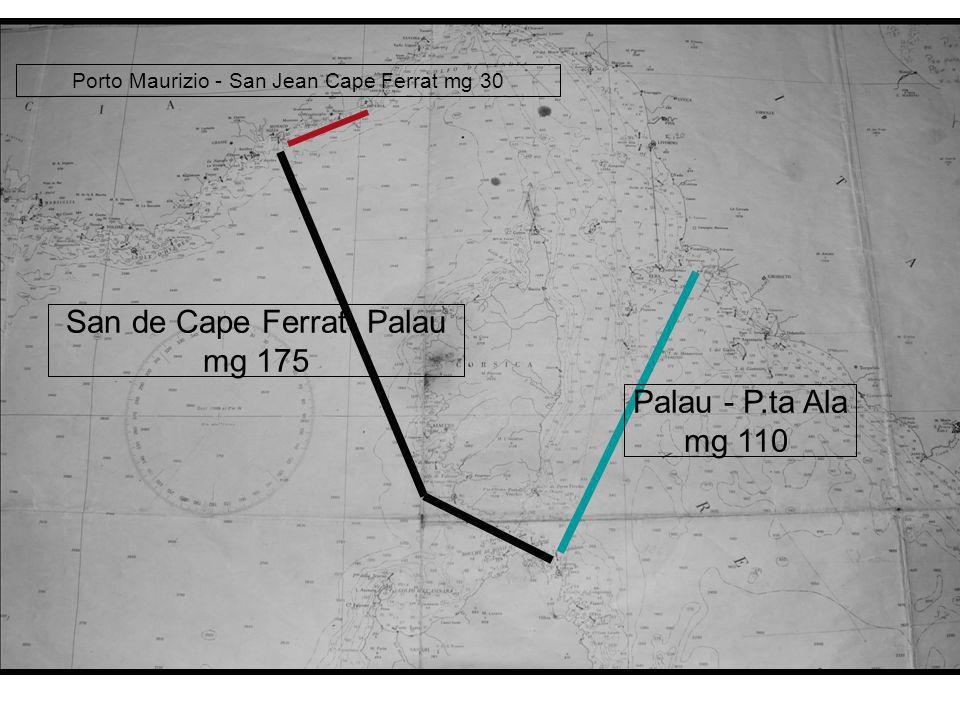 Porto Maurizio - San Jean Cape Ferrat mg 30 San de Cape Ferrat- Palau mg 175 Palau - P.ta Ala mg 110