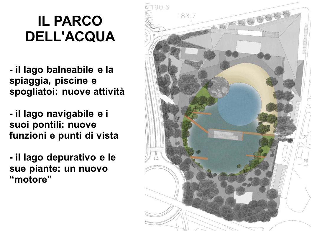 IL PARCO DELL'ACQUA - il lago balneabile e la spiaggia, piscine e spogliatoi: nuove attività - il lago navigabile e i suoi pontili: nuove funzioni e p