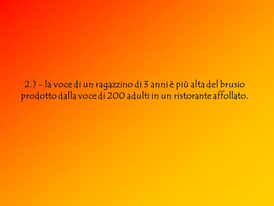 2.) - la voce di un ragazzino di 3 anni è più alta del brusio prodotto dalla voce di 200 adulti in un ristorante affollato.