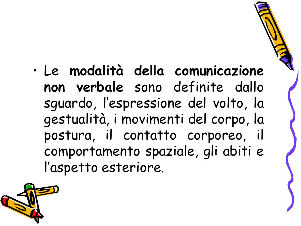 Le modalità della comunicazione non verbale sono definite dallo sguardo, lespressione del volto, la gestualità, i movimenti del corpo, la postura, il