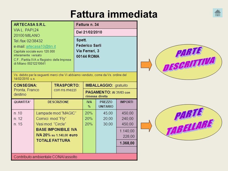 Fattura immediata ARTECASA S.R.L. VIA L. PAPI,24 20100 MILANO Tel./fax 02/38432 e-mail: artecasa10@tin.itartecasa10@tin.it Capitale sociale euro 120.0