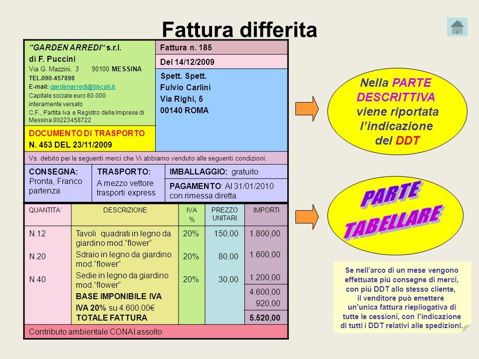 Fattura differita GARDEN ARREDI s.r.l. di F. Puccini Via G. Mazzini, 3 90100 MESSINA TEL.090-457898 E-mail: gardenarredi@tiscali.itgardenarredi@tiscal