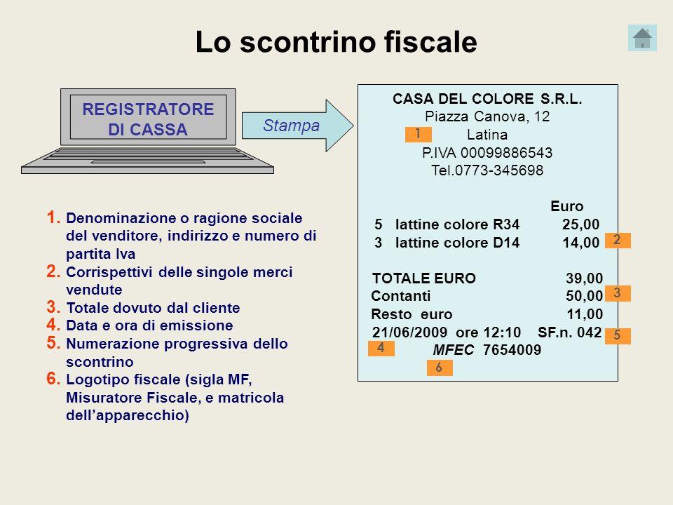 Lo scontrino fiscale Stampa REGISTRATORE DI CASSA CASA DEL COLORE S.R.L. Piazza Canova, 12 Latina P.IVA 00099886543 Tel.0773-345698 Euro 5 lattine col