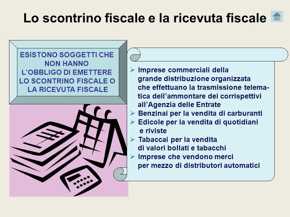 Lo scontrino fiscale e la ricevuta fiscale Imprese commerciali della grande distribuzione organizzata che effettuano la trasmissione telema- tica dell