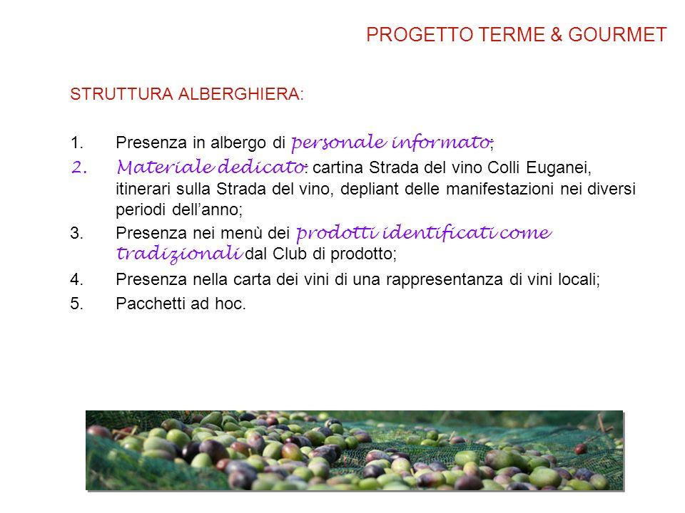 STRUTTURA ALBERGHIERA: 1.Presenza in albergo di personale informato ; 2.Materiale dedicato : cartina Strada del vino Colli Euganei, itinerari sulla St