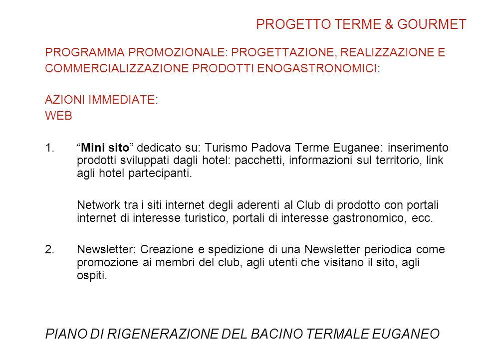 PROGRAMMA PROMOZIONALE: PROGETTAZIONE, REALIZZAZIONE E COMMERCIALIZZAZIONE PRODOTTI ENOGASTRONOMICI: AZIONI IMMEDIATE: WEB 1.Mini sito dedicato su: Turismo Padova Terme Euganee: inserimento prodotti sviluppati dagli hotel: pacchetti, informazioni sul territorio, link agli hotel partecipanti.