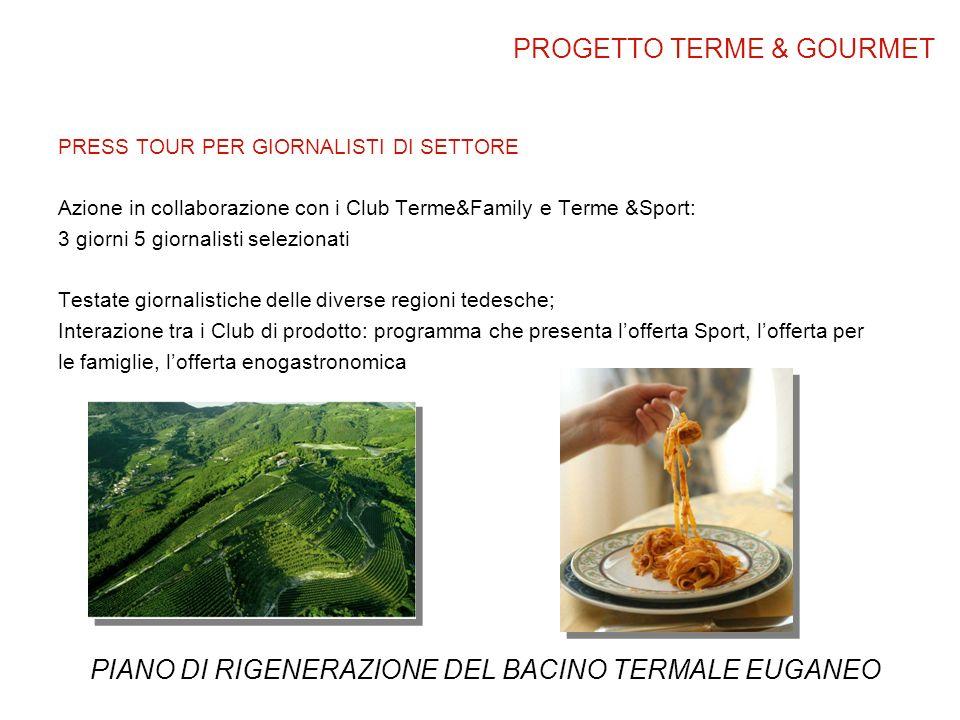 PRESS TOUR PER GIORNALISTI DI SETTORE Azione in collaborazione con i Club Terme&Family e Terme &Sport: 3 giorni 5 giornalisti selezionati Testate gior