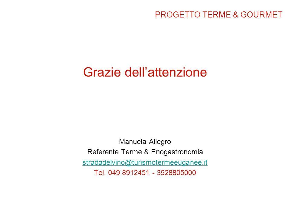 Grazie dellattenzione Manuela Allegro Referente Terme & Enogastronomia stradadelvino@turismotermeeuganee.it Tel. 049 8912451 - 3928805000 PROGETTO TER