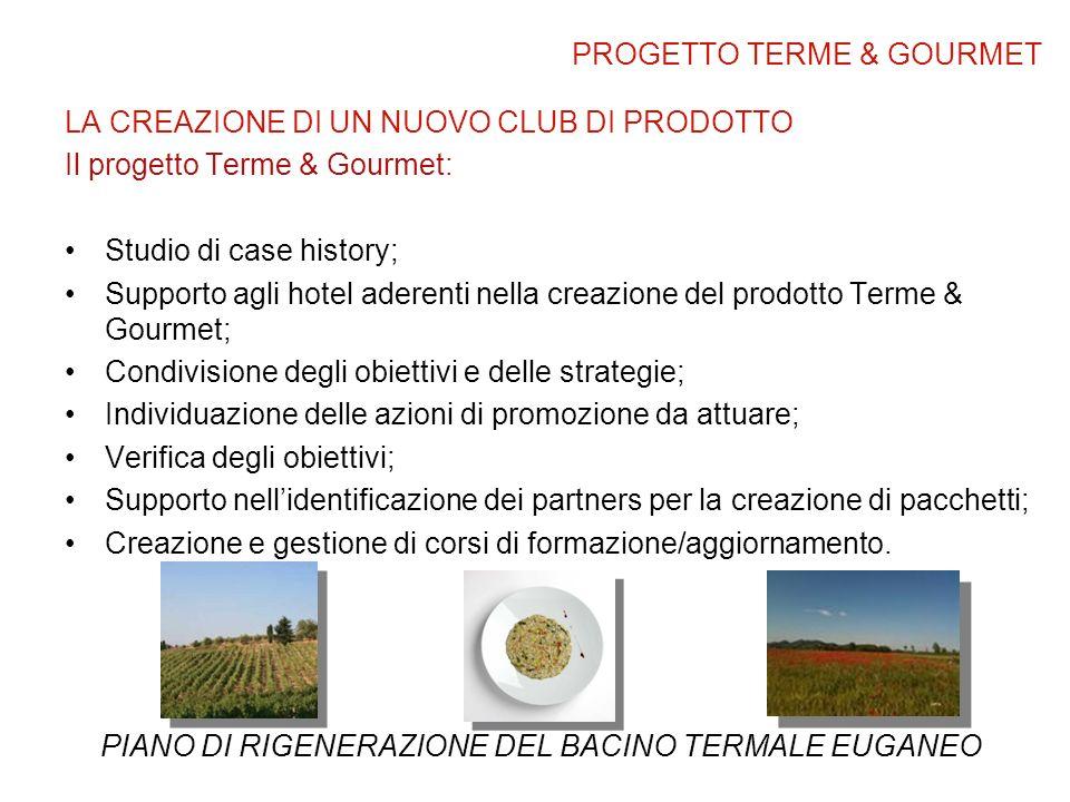 LA CREAZIONE DI UN NUOVO CLUB DI PRODOTTO Il progetto Terme & Gourmet: Studio di case history; Supporto agli hotel aderenti nella creazione del prodot
