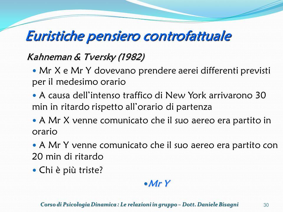 Euristiche pensiero controfattuale Kahneman & Tversky (1982) Mr X e Mr Y dovevano prendere aerei differenti previsti per il medesimo orario A causa dellintenso traffico di New York arrivarono 30 min in ritardo rispetto allorario di partenza A Mr X venne comunicato che il suo aereo era partito in orario A Mr Y venne comunicato che il suo aereo era partito con 20 min di ritardo Chi è più triste.