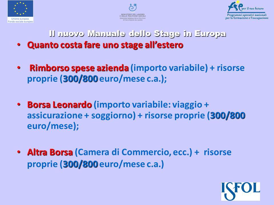 Il nuovo Manuale dello Stage in Europa Il nuovo Manuale dello Stage in Europa Quanto costa fare uno stage allestero Quanto costa fare uno stage allest