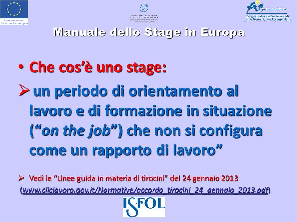 Manuale dello Stage in Europa Che cosè uno stage: Che cosè uno stage: un periodo di orientamento al lavoro e di formazione in situazione (on the job)