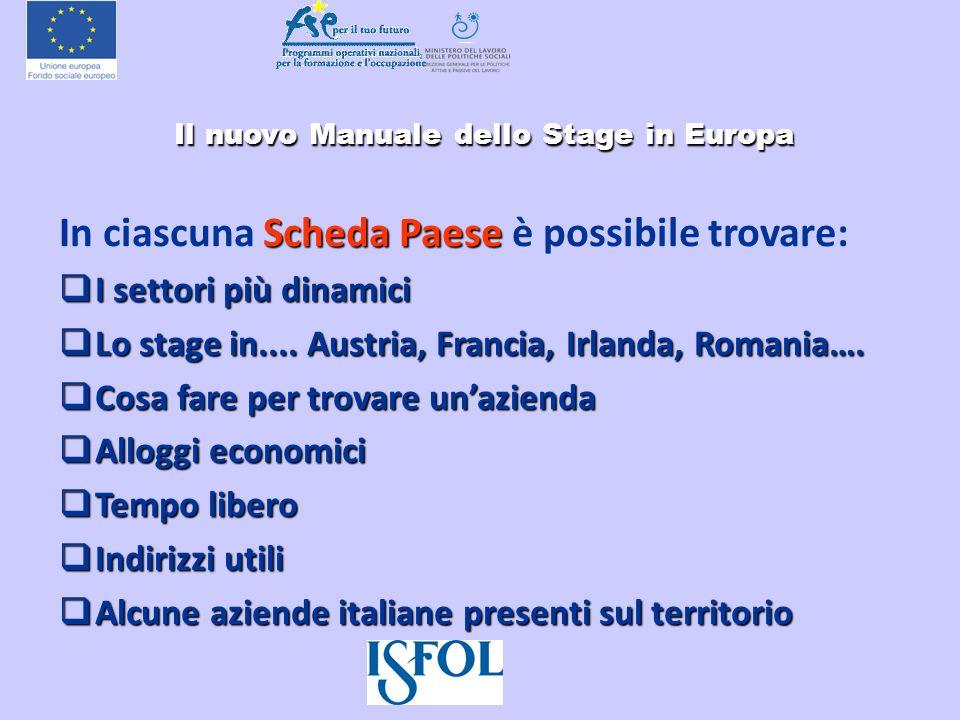 Il nuovo Manuale dello Stage in Europa Il nuovo Manuale dello Stage in Europa Scheda Paese In ciascuna Scheda Paese è possibile trovare: I settori più
