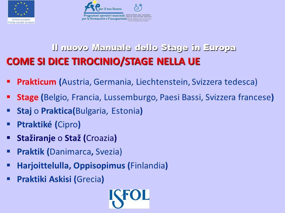 Il nuovo Manuale dello Stage in Europa Il nuovo Manuale dello Stage in Europa COME SI DICE TIROCINIO/STAGE NELLA UE Prakticum (Austria, Germania, Liec