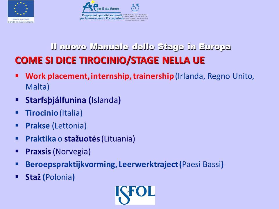 Il nuovo Manuale dello Stage in Europa Il nuovo Manuale dello Stage in Europa COME SI DICE TIROCINIO/STAGE NELLA UE Work placement, internship, traine