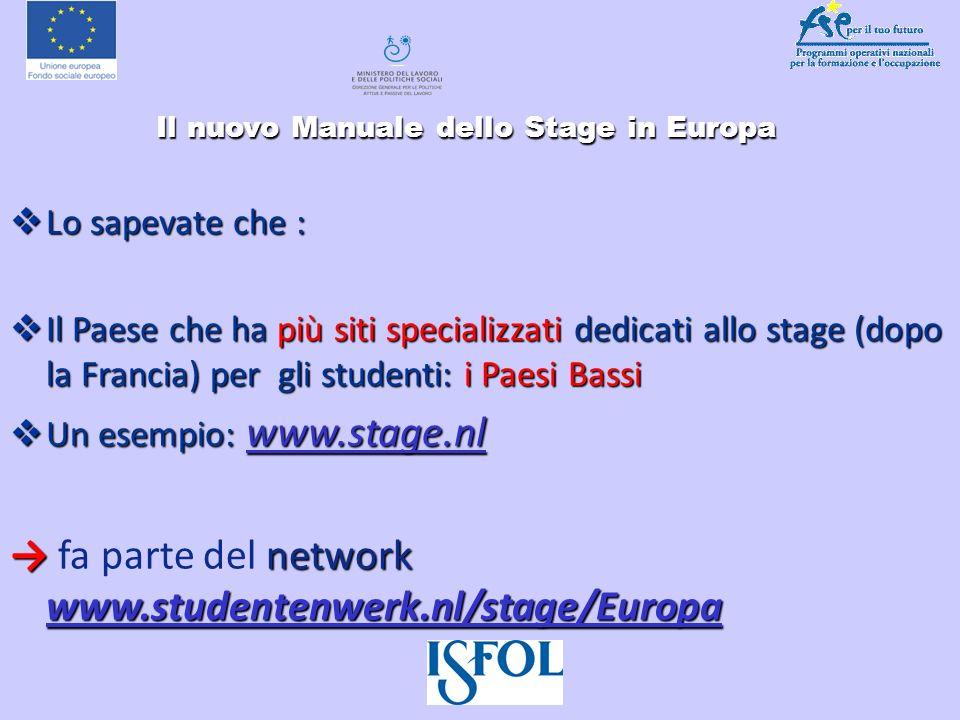Il nuovo Manuale dello Stage in Europa Il nuovo Manuale dello Stage in Europa Lo sapevate che : Lo sapevate che : Il Paese che ha più siti specializza