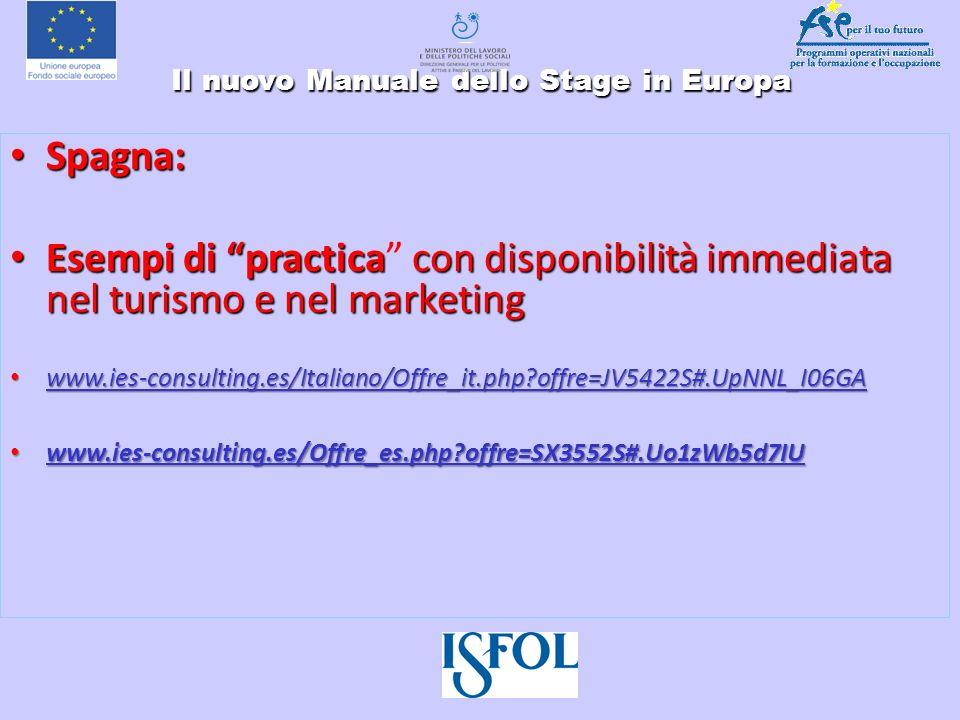 Il nuovo Manuale dello Stage in Europa Il nuovo Manuale dello Stage in Europa Spagna: Spagna: Esempi di practicacon disponibilità immediata nel turism