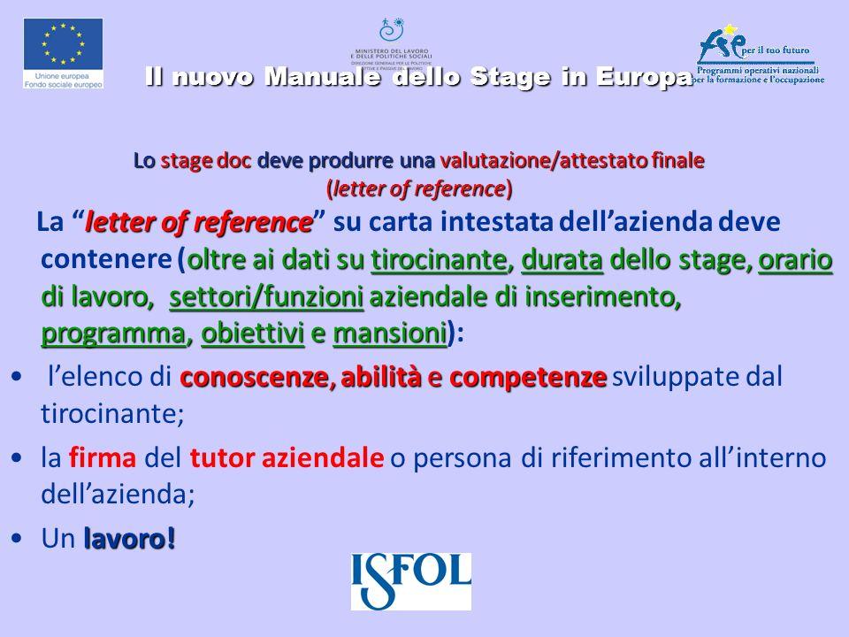 Il nuovo Manuale dello Stage in Europa Lo stage doc deve produrre unavalutazione/attestato finale (letter of reference) Il nuovo Manuale dello Stage i