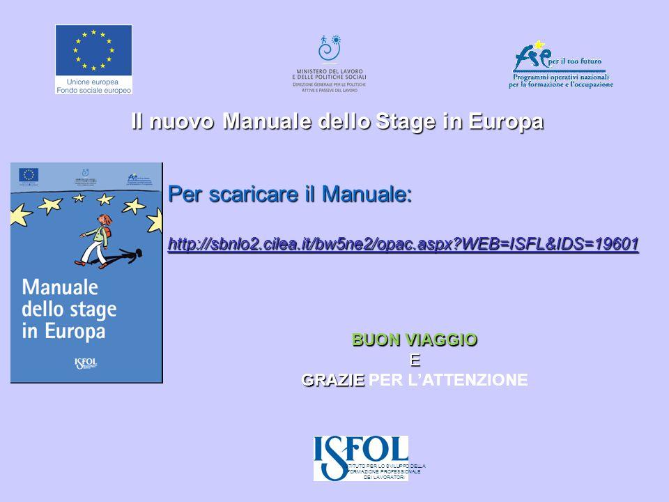 Il nuovo Manuale dello Stage in Europa Per scaricare il Manuale: http://sbnlo2.cilea.it/bw5ne2/opac.aspx?WEB=ISFL&IDS=19601 BUON VIAGGIO E GRAZIE GRAZ