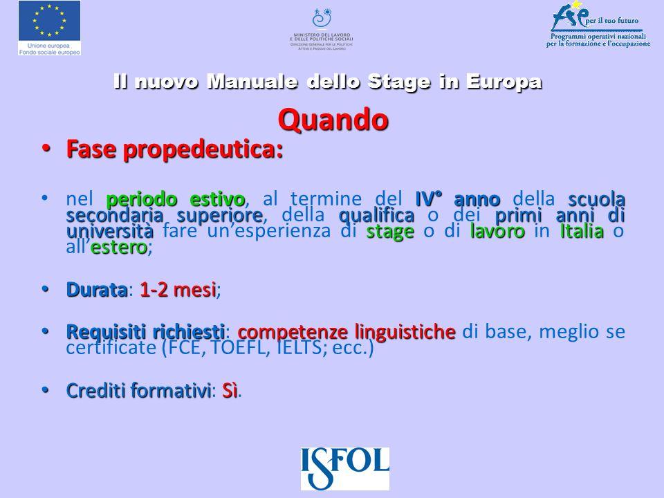 Il nuovo Manuale dello Stage in Europa Il nuovo Manuale dello Stage in Europa Quando Fase propedeutica: Fase propedeutica: periodo estivoIV° anno scuo