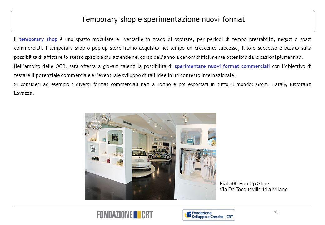 18 Temporary shop e sperimentazione nuovi format Il temporary shop è uno spazio modulare e versatile in grado di ospitare, per periodi di tempo presta