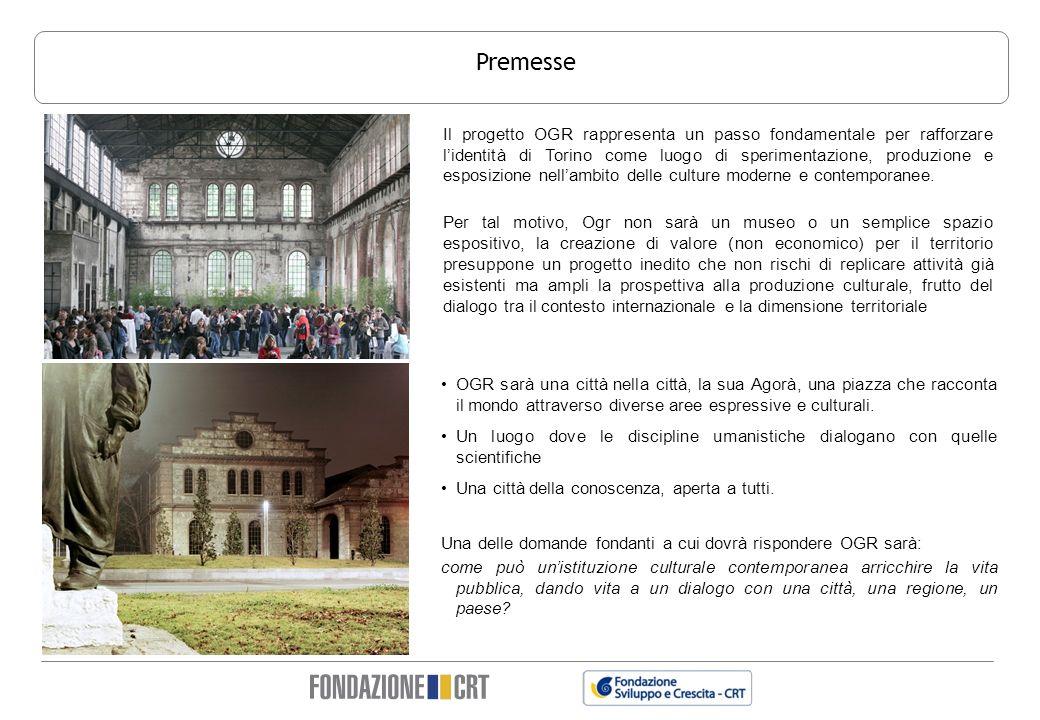 Premesse OGR sarà una città nella città, la sua Agorà, una piazza che racconta il mondo attraverso diverse aree espressive e culturali. Un luogo do