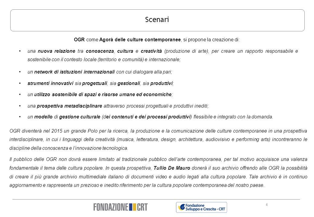 4 Scenari OGR come Agorà delle culture contemporanee, si propone la creazione di: OGR diventerà nel 2015 un grande Polo per la ricerca, la produzione