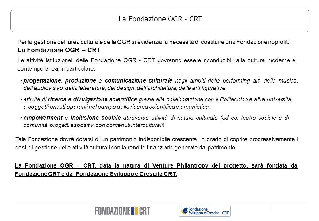 7 La Fondazione OGR - CRT La Fondazione OGR – CRT, data la natura di Venture Philantropy del progetto, sarà fondata da Fondazione CRT e da Fondazione
