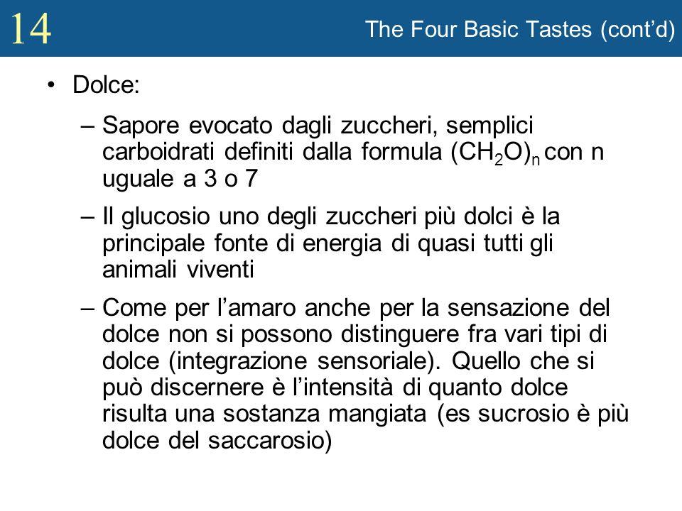 14 The Four Basic Tastes (contd) Dolce: –Sapore evocato dagli zuccheri, semplici carboidrati definiti dalla formula (CH 2 O) n con n uguale a 3 o 7 –I