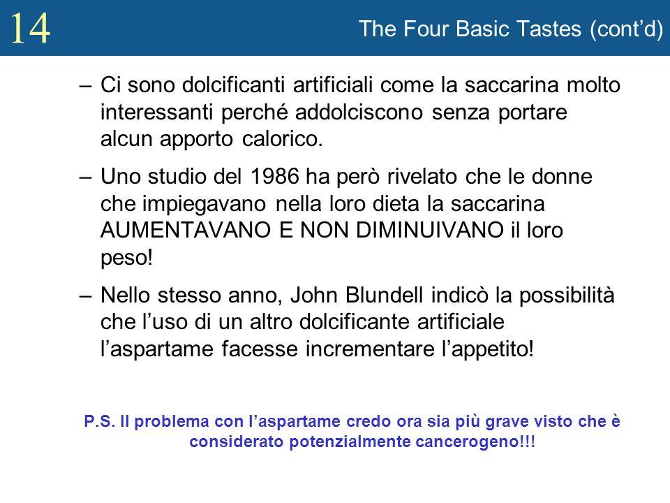 14 The Four Basic Tastes (contd) –Ci sono dolcificanti artificiali come la saccarina molto interessanti perché addolciscono senza portare alcun apport