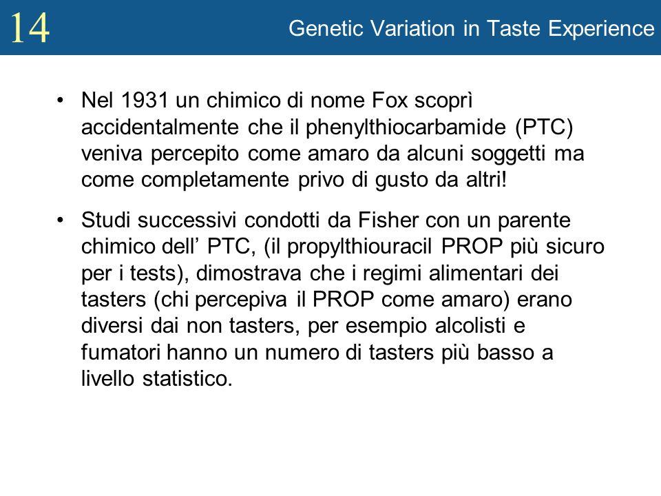 14 Genetic Variation in Taste Experience Nel 1931 un chimico di nome Fox scoprì accidentalmente che il phenylthiocarbamide (PTC) veniva percepito come