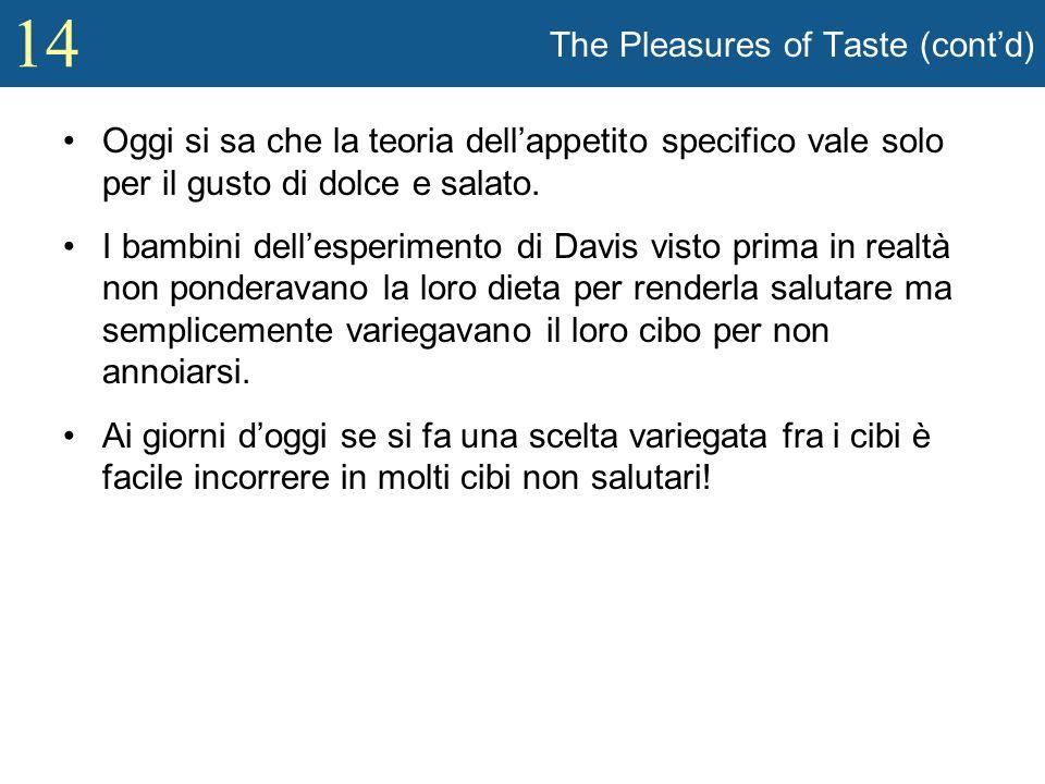 14 The Pleasures of Taste (contd) Oggi si sa che la teoria dellappetito specifico vale solo per il gusto di dolce e salato. I bambini dellesperimento