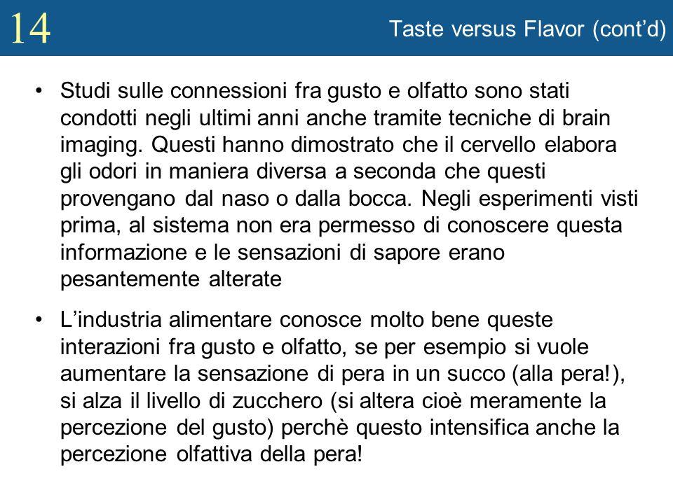 14 Taste versus Flavor (contd) Studi sulle connessioni fra gusto e olfatto sono stati condotti negli ultimi anni anche tramite tecniche di brain imagi