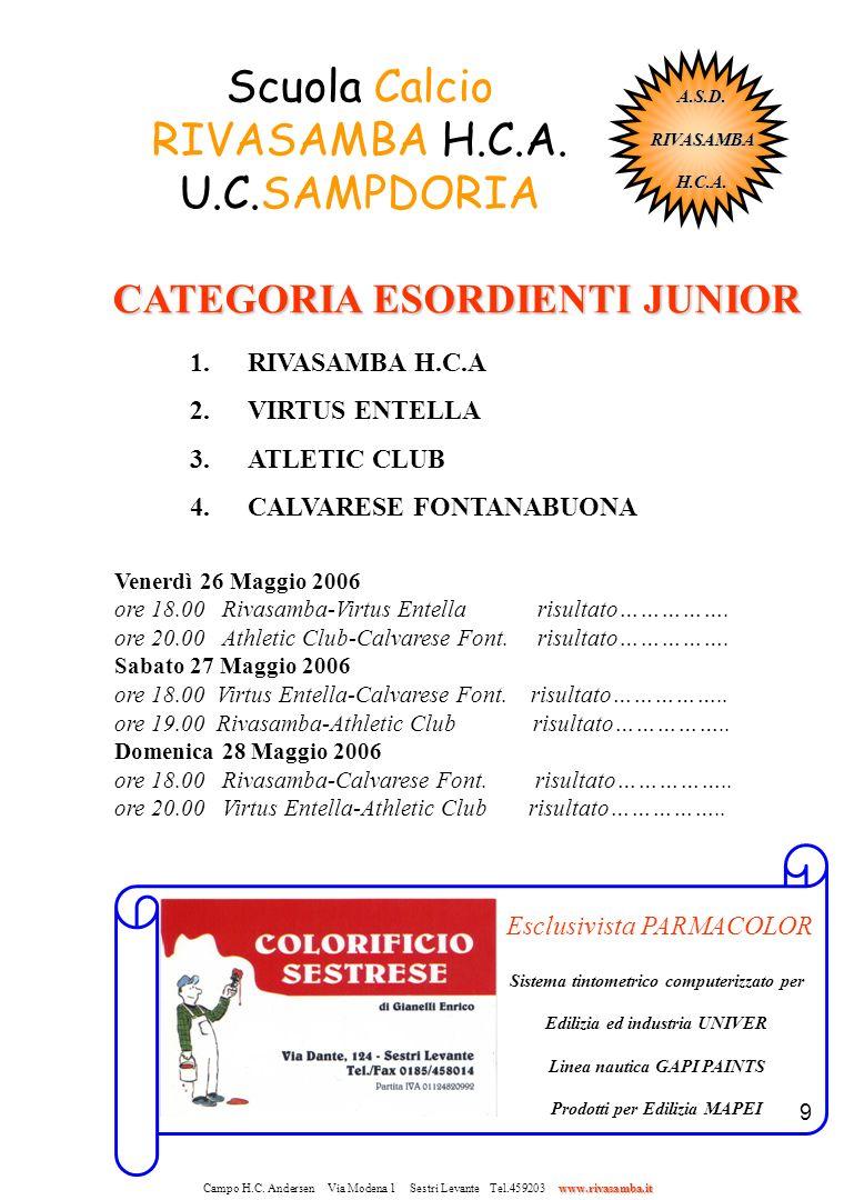 9 Scuola Calcio RIVASAMBA H.C.A. U.C.SAMPDORIA CATEGORIA ESORDIENTI JUNIOR CATEGORIA ESORDIENTI JUNIOR 1.RIVASAMBA H.C.A 2.VIRTUS ENTELLA 3.ATLETIC CL
