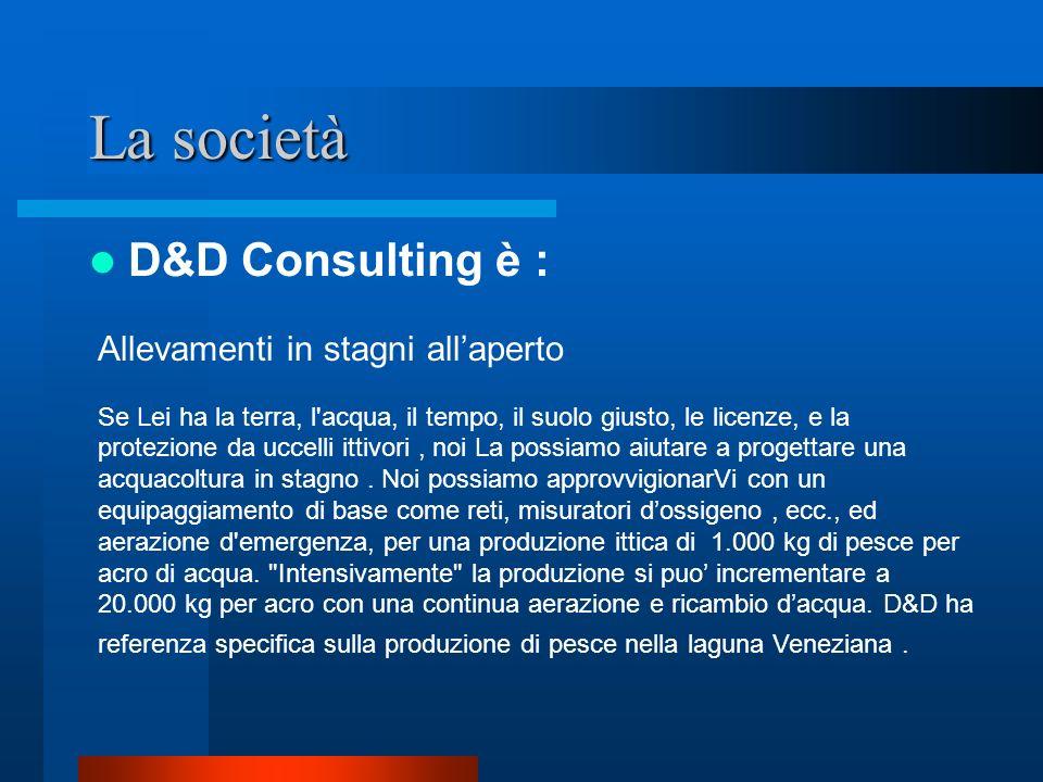 La società D&D Consulting è : Acquacoltura ornamentale Da stagni domestici per carpe koi fino a quelli di taglia commerciali e acquari pubblici.